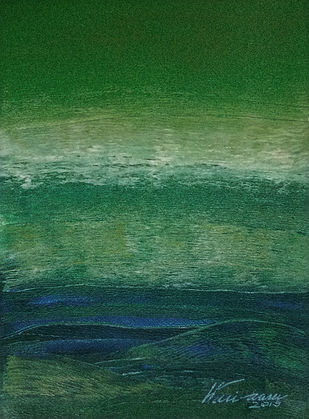 FROM STELLAR MEMORY 6 by V .Hariraam , Abstract Painting, Acrylic on Paper, Green color