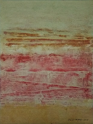 FROM STELLAR MEMORY 7 by V .Hariraam , Abstract Painting, Acrylic on Paper, Brown color