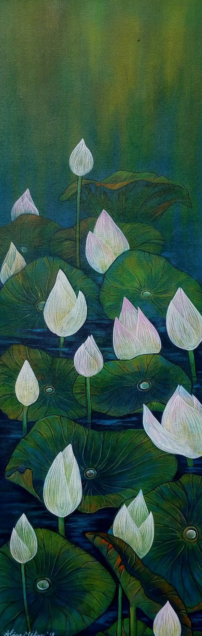 The Vartical Beauty 33 by Atin Mitra, Traditional Painting, Acrylic on Canvas, Green color