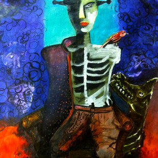 The King by Gautam Das, Expressionism Painting, Acrylic on Paper, Blue color