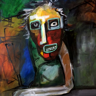 The Old Man by Gautam Das, Expressionism Painting, Acrylic on Paper, Gray color