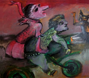 Bikers by Gautam Das, Expressionism Painting, Acrylic on Paper, Brown color