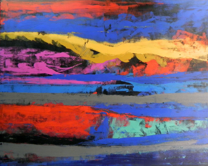 Landscape by tajinder pal singh, Abstract Painting, Acrylic on Canvas, Blue color