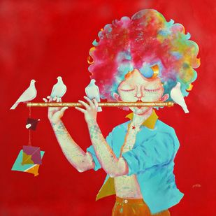 The Childhood xviii by shiv kumar soni, Expressionism Painting, Acrylic on Canvas, Red color