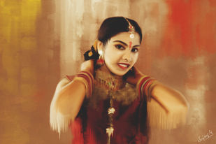 Graceful Indian Girl by Sujay Govindaraj, Digital Digital Art, Digital Print on Archival Paper, Brown color