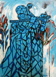UNTITLED by Aditya Dev, Expressionism Painting, Acrylic on Canvas, Cyan color