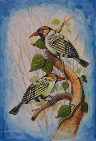 Birds Painting 68 by santosh patil, Expressionism Painting, Watercolor on Paper, Brown color