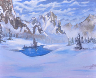 Snow Mountain by Ananjay Sharma, Expressionism Painting, Oil on Canvas, Cyan color