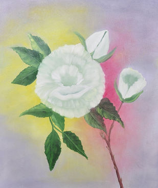 White Rose by Ananjay Sharma, Impressionism Painting, Oil on Canvas, Beige color
