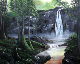 Waterfall by Ananjay Sharma, Impressionism Painting, Oil on Canvas, Green color