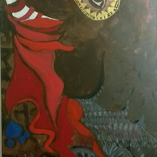 Victorious Indian Gaja(elephant) by Charushila, Expressionism Painting, Acrylic on Canvas, Brown color