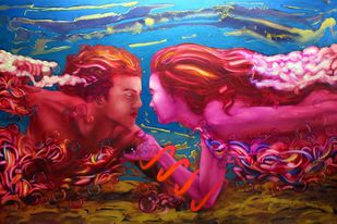Soul mates 21 by Ankur Rana, Pop Art Painting, Oil on Canvas, Brown color