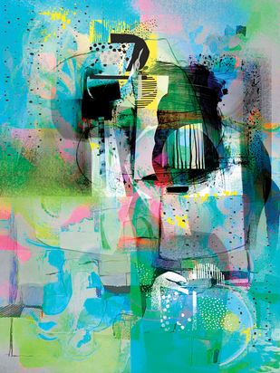 Untitled by Sunil Balkawade, Abstract Painting, Mixed Media on Canvas, Cyan color