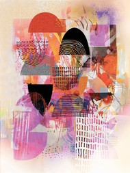 Untitled by Sunil Balkawade, Abstract Painting, Mixed Media on Canvas, Pink color
