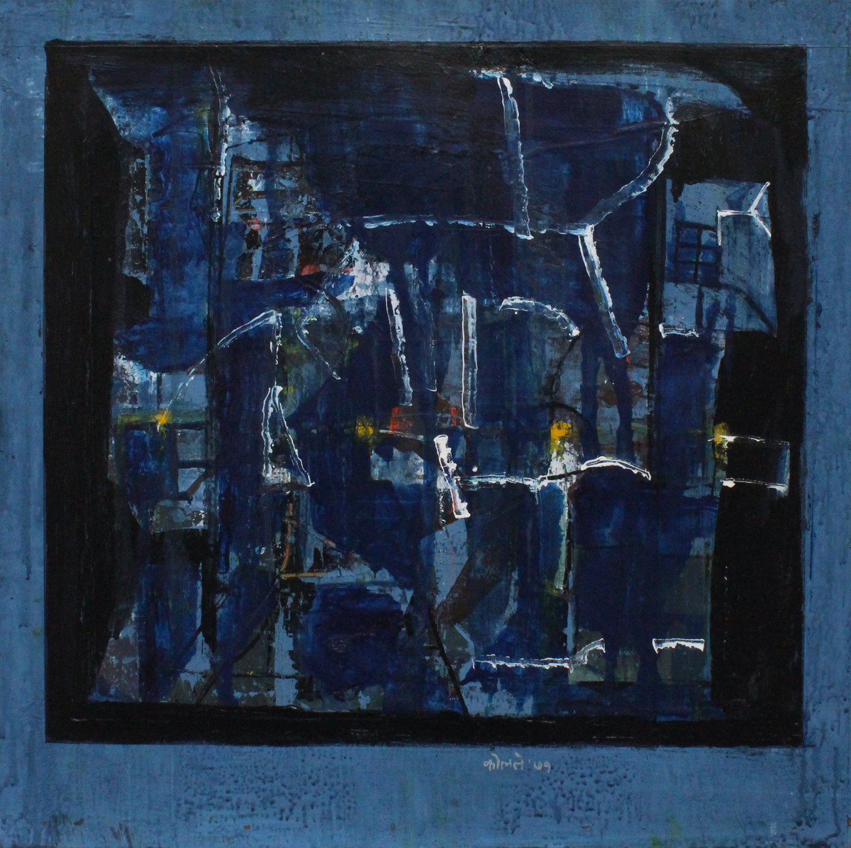 Untitled by Prabhakar Kolte, Abstract Painting, Acrylic on Paper, Blue color