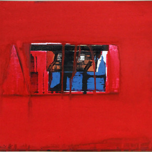 Untitled by Prabhakar Kolte, Abstract Painting, Mixed Media on Paper, Red color
