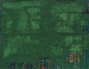 Untitled by Prabhakar Kolte, Abstract Painting, Acrylic on Paper, Green color