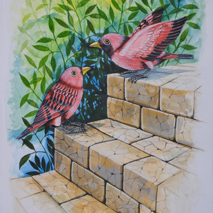 Birds Painting 52 by santosh patil, Decorative Painting, Watercolor on Paper, Brown color