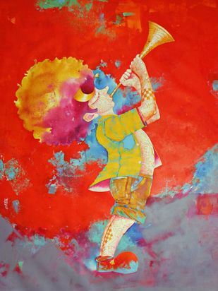 Passion of the childhood xvi by shiv kumar soni, Expressionism Painting, Acrylic on Canvas, Red color