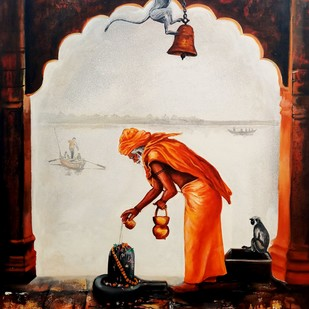 worshiped sadhu by Arjun das, Expressionism Painting, Acrylic on Canvas, Brown color