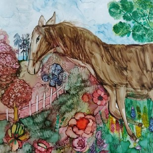 meadow by Shilpa Dahra, Impressionism Painting, Pen & Ink on Paper, Brown color