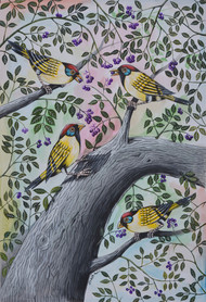 Birds Painting 75 by santosh patil, Decorative Painting, Watercolor on Paper, Gray color