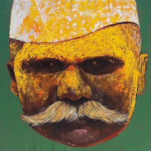 Face 1 by Ganesh Jadhav , Expressionism Painting, Acrylic on Canvas, Brown color