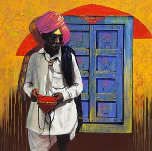 Shepherd by Ganesh Jadhav , Expressionism Painting, Acrylic on Canvas, Brown color