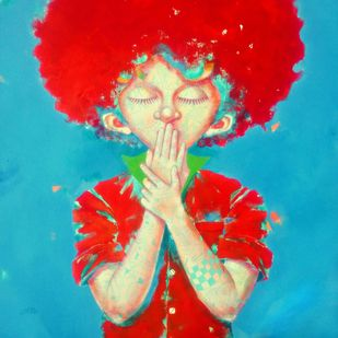 My Lord by shiv kumar soni, Expressionism Painting, Acrylic on Canvas, Cyan color