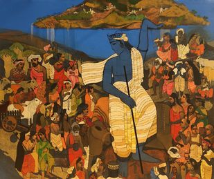 Govardhan by Siddharth Shingade, Expressionism Painting, Acrylic on Canvas, Brown color