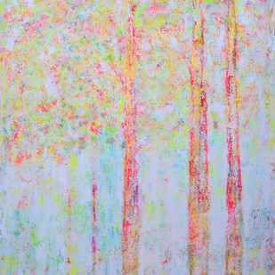 soul tree : ascetic by Cheena Madan, Decorative Painting, Acrylic on Canvas, Pink color