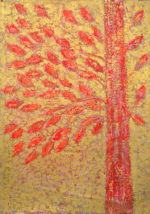soul tree : warmth by Cheena Madan, Decorative Painting, Acrylic on Canvas, Brown color