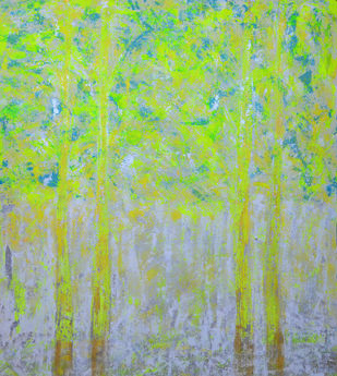 soul tree : effulgence by Cheena Madan, Decorative Painting, Acrylic on Canvas, Green color