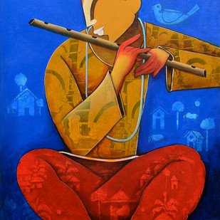 The Mesmerizing Tunes 3 by anupam pal, Decorative Painting, Acrylic on Canvas, Blue color