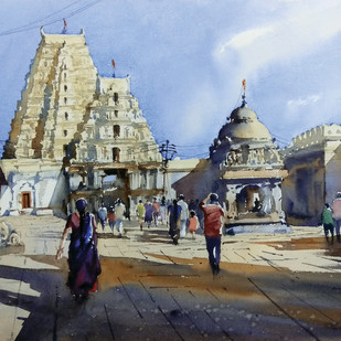 untitled by Sunil Linus De, Impressionism Painting, Watercolor on Paper, Gray color