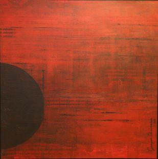 Agni-2 by Gunjan Shrivastava, Abstract Painting, Acrylic on Canvas, Brown color
