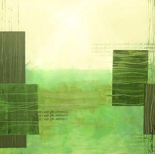 Avani-3 by Gunjan Shrivastava, Abstract Painting, Oil on Canvas, Green color