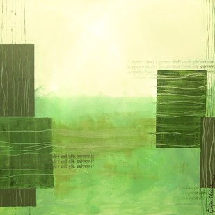 Avani-3 by Gunjan Shrivastava, Abstract Painting, Oil on Canvas, Green color