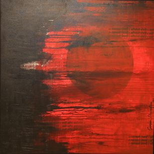 Agni-1 by Gunjan Shrivastava, Abstract Painting, Acrylic on Canvas, Brown color