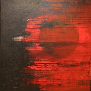 Agni-1 by Gunjan Shrivastava, Abstract Painting, Acrylic on Canvas, Brown color