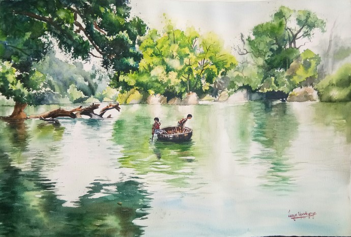 Rippling through Kaveri by Lasya Upadhyaya, Impressionism Painting, Watercolor on Paper, Beige color