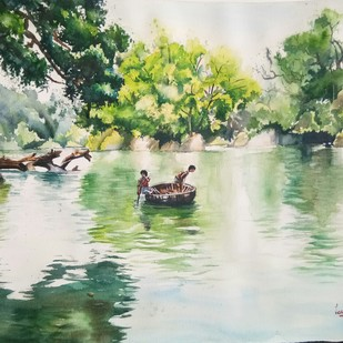 Rippling through Kaveri Digital Print by Lasya Upadhyaya,Impressionism