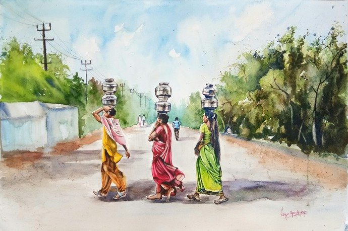 Miles to go to fill their pots by Lasya Upadhyaya, Impressionism Painting, Watercolor on Paper, Beige color