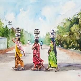 Miles to go to fill their pots Digital Print by Lasya Upadhyaya,Impressionism