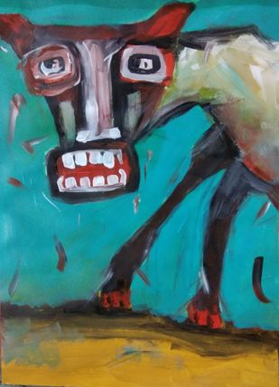 Canine by Gautam Das, Expressionism Painting, Acrylic & Ink on Paper, Cyan color