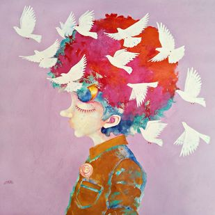 The Childhood xiv by shiv kumar soni, Expressionism Painting, Acrylic on Canvas, Pink color