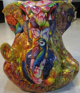 Ganesha Series by Sachindranath Jha, Art Deco Sculpture | 3D, Fiber Glass, Brown color
