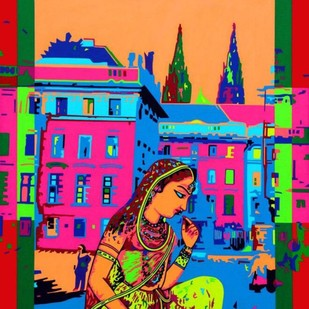 City musings by Suchit Sahni, Pop Art Painting, Acrylic on Canvas, Green color