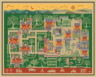 """The Paradise of Pune"" by Vignesh Premkumar, Geometrical Digital Art, Ink on Paper, Beige color"