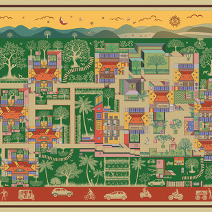 """The Paradise of Pune"" by Vignesh Premkumar, Geometrical Digital Art, Ink on Paper, Beige color"